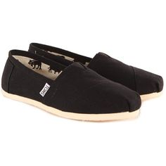 Toms Women's Classic Canvas Black Espadrilles ($46) ❤ liked on Polyvore featuring shoes, flats, toms, sapatos, canvas shoes, flat shoes, canvas espadrille flats, black shoes and black slip-on shoes