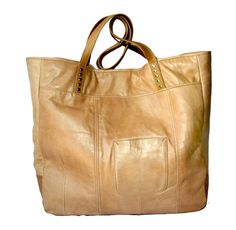Nude leather beach tote bag - recycled leather - handcrafted by Uptown Redesigns in New Orleans.