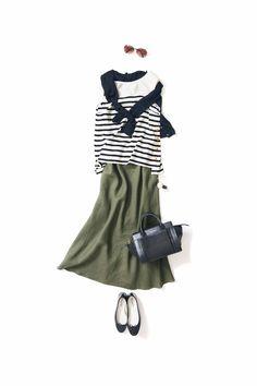 Olive green cargo skirt, black striped shirt, black cardigan, black ballet flats