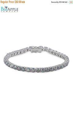 "Tennis Bracelet Solid 925 Sterling Silver Round Cut Mystic Rainbow Topaz CZ Wedding Engagement Bridesmaid Tennis Bracelet 7.25"" Long"