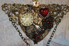 Steampunk metal heart key watch parts victorian by hudathotjewelry, $30.00