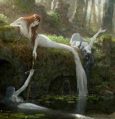 Mythical Creatures Art, Fantasy Creatures, Dark Fantasy Art, Fantasy Artwork, Arte Obscura, Fairytale Art, Mermaid Art, Fantasy Landscape, Fairy Art