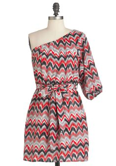 Marbleized Marvel Dress in Red - Short, Multi, Red, Black, Grey, White, Print, Party, Sheath / Shift, 3/4 Sleeve, One Shoulder, Belted