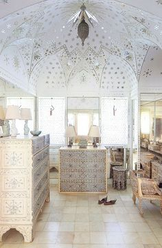 Incorporate Indian Influences. Furniture accented with mother-of-pearl.