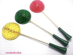 "Golf ball lollipops (on ""tees""!) - so cute for a golf party!"