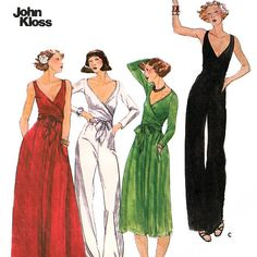Butterick 4845 by Designer John Kloss Vintage 70s Misses Dress and Jumpsuit Sewing Pattern - Uncut - Size 10 - Bust 32.5 via Etsy