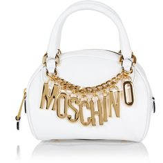 Moschino Leather Mini Bag with logo chain ($580) ❤ liked on Polyvore featuring bags, handbags, shoulder bags, white, studded purse, studded shoulder bag, chain handle handbags, chain strap shoulder bag and mini purse