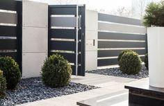 Nowoczesne Ogrodzenie Shades of grey - furtka Gate Wall Design, House Fence Design, House Main Gates Design, Main Entrance Door Design, Front Gate Design, Modern Entrance Door, House Entrance, Gate Designs Modern, Modern Fence Design