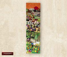 "Arpillera arte popular Del Perú 35""x10""- Cuadro textil de pared - Arpillera - Decoracion Hogar - Decoracion de Interior - Artesania peruana by DECORCONTRERAS on Etsy"