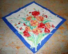 Vintage Handkerchief Blue Orange Floral Ladies by TheBackShak,