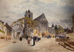 Saint-Adrien Church in Mailly - H. Zuber - France 1893 - Watercolor 35x50 - Priv. coll.