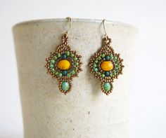 Turquoise EarringsVictorian earrings Teardrop by DandasCollection