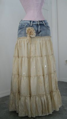 Love the idea of upcycling jeans & old fabric into a skirt. [Not a tutorial, just an image/idea]