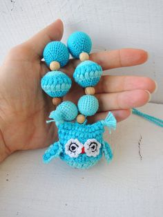 Turquoise Owl crochet nursing necklace  Nursing necklace or breastfeeding necklace is a fashion accessory for breastfeeding & babywearing or