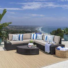 Great Deal Furniture | Reddington | Outdoor Patio Furniture 6-Piece Sectional Sofa Set