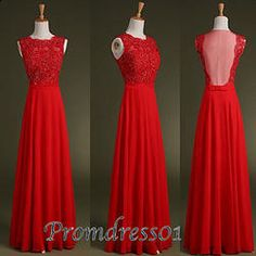 #promdress01 prom dress - 2015 lovely red lace chiffon round neck open back A-line long prom dress for teens, homeocming dress, birdesmaid dress
