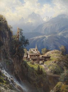 "illuminate-eliminate: ""Dorf in den Berner Alpen by Adolf Mosengel (1837 - 1885). """