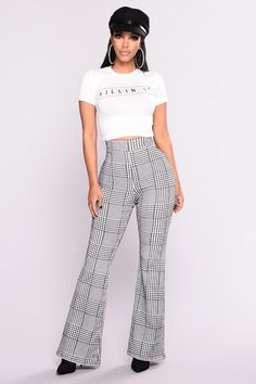 9bf5843ce687a Houndstooth Wide Leg Trouser Pants - Black White Trouser Pants