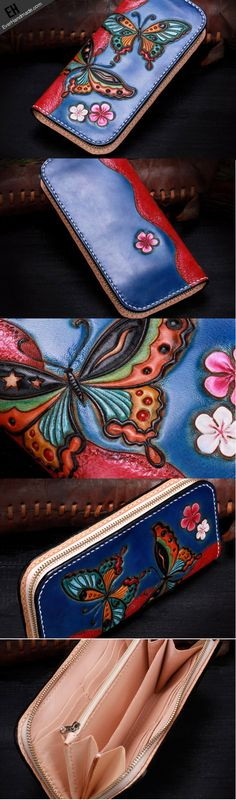 Handmade leather blue butterfly wallet leather zip women clutch Tooled