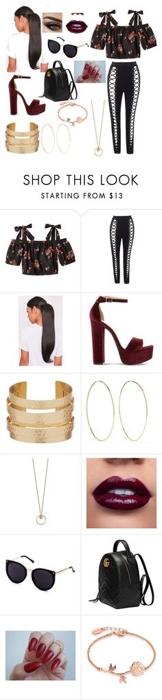 """""""Latino pride"""" by trinidemreis ❤ liked on Polyvore featuring Rebecca Taylor, Steve Madden, Magda Butrym, Gucci and Disney"""