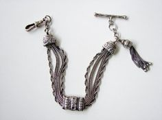 Antique Victorian Silver Ornate Albertina and Tassel Charm / Bracelet