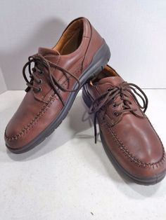 ECCO Size 13D Brown Mens Leather Seawalker Derby Lace Moc Toe Boat Shoes EU 47 #ECCO #Derby