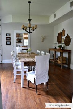 our vintage home love: New (Old) Dining Room Table and buffet built from barn wood