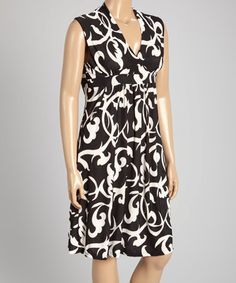 Black & White Damask Empire-Waist Dress - Plus Size #zulily #zulilyfinds