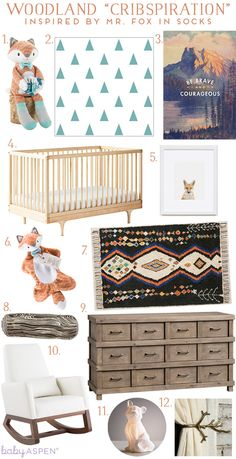 Cribspiration: Fox Nursery | Woodland Nursery Inspiration from Baby Aspen | Love the tone of the dresser and love the tiebacks
