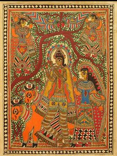 Indian Painting Styles...Madhubani/Mithila  Painting (Bihar)-krishna-and-gopinis6.jpg