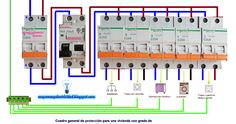 Cuadro general de protección para una vivienda Electrical Panel Wiring, Electrical Circuit Diagram, Electrical Symbols, Electrical Layout, Electrical Safety, Electrical Projects, Electrical Installation, Electrical Tools, Light Switch Wiring