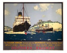 Southern Railway Ships on VintageRailPosters.co.uk #Vintage #Rail #Train #Poster #Print #Art #Vintage #Old #Classic #British #Britain #UK #Travel #Railway #Posters #Gifts #Products #Merchandise #England #Present #Kent #Garden
