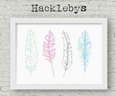 Printable wall art. Great for the nursery or childs room. Available as a download or print in different sizes. #printables #printableart #printathome #prints #digitaldownload #feathers #featherprint #featherart