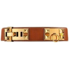 Preowned Hermes C.1992 Collier De Chien Tan Courchevel Leather Medor... ($1,254) ❤ liked on Polyvore featuring accessories, belts, brown, 100 leather belt, circle belt, tan leather belt, hermès and hermes belt