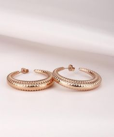 Amazon.com: Caperci Stainless Steel Noble Women's Rose Gold Tone Crescent Moon Hoop Earrings: Jewelry