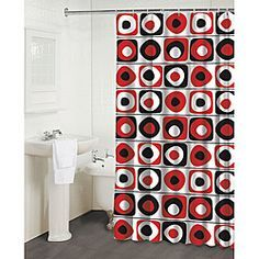 Red Black and Grey Curtains REDGREY CIRCLES PRINTED NEW 13PC
