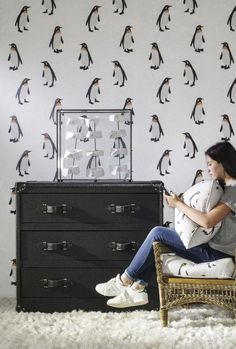 Buy Andrew Martin Emperor Wallpaper By Holly Frean online with Houseology's Price Promise. Full Andrew Martin collection with UK & International shipping. Flock Wallpaper, Animal Wallpaper, Room Wallpaper, Feather Wallpaper, Wallpaper Ideas, Penguin Nursery, Penguin Love, Penguin Baby, Perfect Wallpaper
