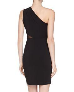 Mesh-Inset One-Shoulder Dress, Black
