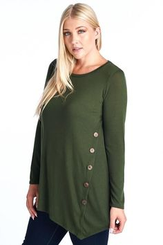 Long sleeve shirt with decorative buttons