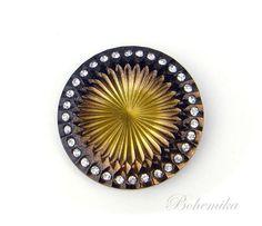 Antique Vintage Art Deco Czech Glass Brooch Pin Large Black Gold Statement #NA Czech Glass, Large Black, Brooch Pin, Black Gold, Art Deco, Antiques, Vintage Art, Jewelry, Brooch