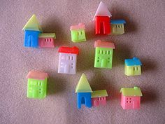Lot of 8 Vintage Hard Plastic House Token/Toy Assorted Neon Colors