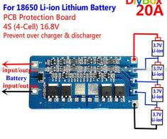 Battery BMS Protection PCB Board for 4 packs 18650 Li-ion lithium Cell Aaa Battery Charger, Rechargeable Battery Charger, 18650 Battery, Pcb Circuit Board, Pcb Board, Power Supply Circuit, Electronic Circuit Projects, Class D Amplifier, Power Energy