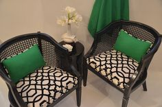 """Chairs from mother's house. redo Pair of French barrel chairs, Black and White with Green Accent pillow """"Deauville"""" Chair Redo, Chair Makeover, Furniture Makeover, Cane Furniture, Painted Furniture, Furniture Styles, Black Rattan Chair, Rattan Chairs, Barrel Chair"""