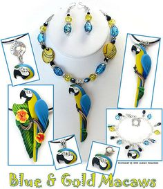 https://flic.kr/p/8A5E1Y | Blue & Gold Macaw Polymer Clay Jewelry by Alicia Merritt | The Bird of the Month for September is the Blue and Gold Macaw!  Each piece of jewelry was hand sculpted from colorful polymer clay, without the use of molds or paint.  Each color was a separately blended piece of clay.  Please see my Flickr profile for further information about my clay art.  Copyright © 2010 Alicia's Creations