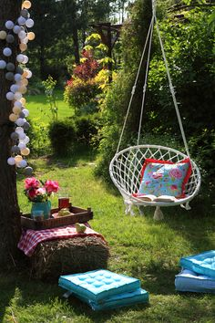 Swing seat in the garden - Another! Hanging Hammock Chair, Swinging Chair, Hanging Chairs, Porches, Cotton Ball Lights, Flora Flowers, Swing Seat, Outdoor Living, Outdoor Decor