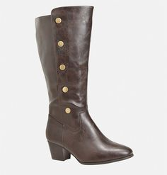 Shop sexy new boots in wide width sizes like the Lissa Snap Side Heeled… Brown Heeled Boots, Black High Boots, Tall Brown Boots, Faux Fur Boots, Tall Boots, High Heel Boots, Stretch Knee High Boots, How To Stretch Boots, Vegan Boots