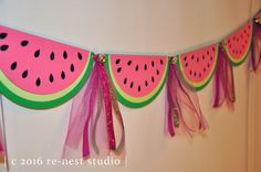 watermelon sparkle party banner  one in a melon by reneststudio