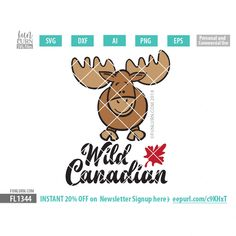 Wild Canadian Cute Moose SVG cutting files, DXF EPS PNG and Ai Files for your craft cutters Silhouette Cameo, Cricut etc. Craft Cutter, Silhouette Studio, Cricut Design, Commercial, Canada, Graphics, Space, Business, Check