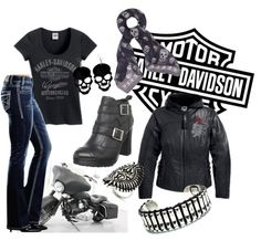 Harley Riding Gear for her:: Hello boots, jacket and jeans. Biker Chick Outfit, Biker Chick Style, Biker Outfits, Motorcycle Style, Motorcycle Outfit, Motorcycle Jacket, Harley Apparel, Harley Davidson Kleidung, Rockabilly Vintage