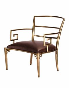 Greek-Key Chair, $995. Brass and leather. WILLIAMS-SONOMA HOME